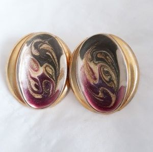 Oval Stud Earrings Gold with Colorful Swirl